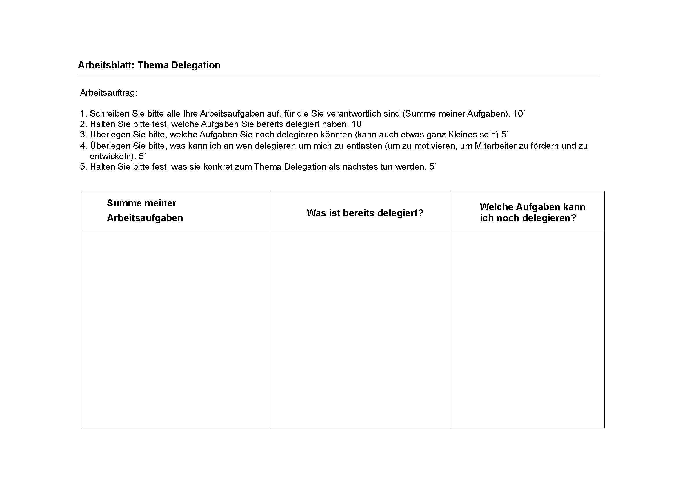 Skills - Arbeitsblatt: Thema Delegation